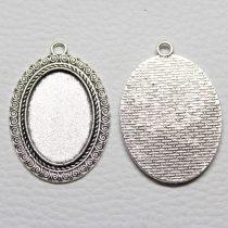 Tibeti stílusú ragasztható fém medál alap - antik ezüst színű 45x31mm-es, 30x20mm-es kabosonhoz