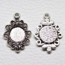 Tibeti stílusú ragasztható fém medál alap - antik ezüst színű 30x21mm-es, 12mm-es kabosonhoz