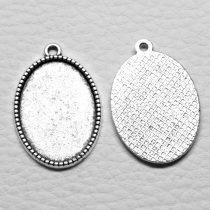 Tibeti stílusú ragasztható fém medál alap - antik ezüst színű 31x20mm-es, 25x18mm-es kabosonhoz