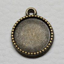 Tibeti stílusú KÉTOLDALAS ragasztható fém medál alap - antik bronz színű 20x16mm-es, 14mm-es kabosonhoz