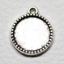 Tibeti stílusú KÉTOLDALAS ragasztható fém medál alap - antik ezüst színű 20x16mm-es, 14mm-es kabosonhoz