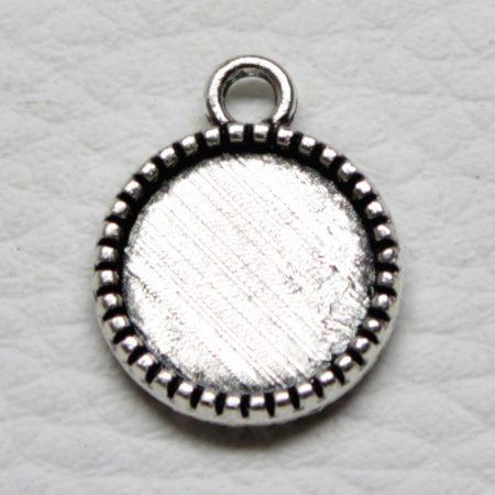 Tibeti stílusú KÉTOLDALAS ragasztható fém medál alap - antik ezüst színű 18x14mm-es, 12mm-es kabosonhoz