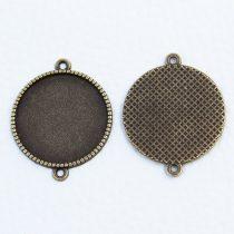 Tibeti stílusú ragasztható fém medál alap / összekötő elem - antik bronz színű 34x27mm-es, 25mm-es kabosonhoz