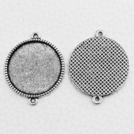Tibeti stílusú ragasztható fém medál alap / összekötő elem - antik ezüst színű 34x27mm-es, 25mm-es kabosonhoz