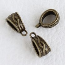 Tibeti stílusú fém medálakasztó - antik bronz színű 7x14mm-es, kb. 6x8mm-es furattal