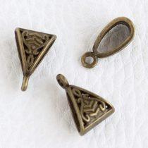 Tibeti stílusú fém medálakasztó - antik bronz színű 10x15mm-es, kb. 4x9mm-es furattal