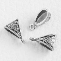 Tibeti stílusú fém medálakasztó - antik ezüst színű 10x15mm-es, kb. 4x9mm-es furattal