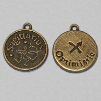 Tibeti stílusú fém csillagjegy/horoszkóp medál / fityegő - antik bronz színű 20x18mm-es nyilas