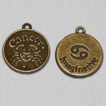 Tibeti stílusú fém csillagjegy/horoszkóp medál / fityegő - antik bronz színű 20x18mm-es rák