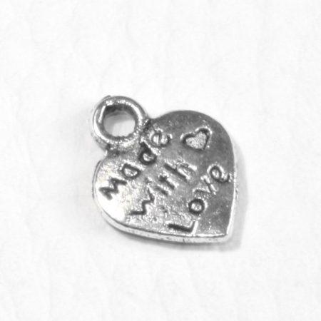"""Tibeti stílusú fém medál / fityegő - antik ezüst színű 12x10mm-es szív """"Made With Love"""""""