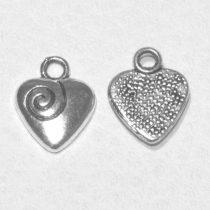 Tibeti stílusú fém medál / fityegő - antik ezüst színű 14x11mm-es szív