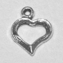 Tibeti stílusú fém medál / fityegő - antik ezüst színű 16,5x13mm-es kontúr szív