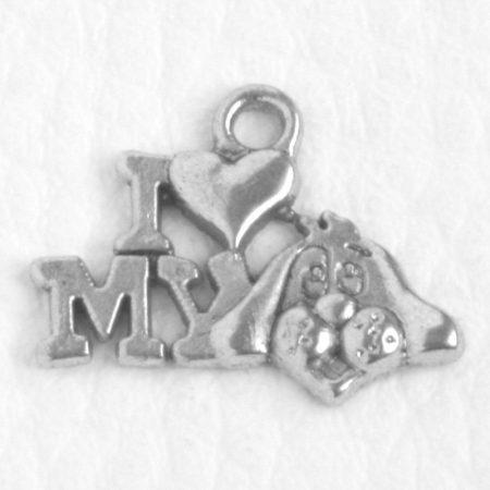 Tibeti stílusú fém medál / fityegő - antik ezüst színű 13x13mm-es kutyás - I love my dog