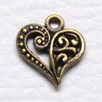 Tibeti stílusú fém medál / fityegő - antik bronz színű 14,5x14mm-es szív