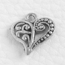 Tibeti stílusú fém medál / fityegő - antik ezüst színű 14,5x14mm-es szív