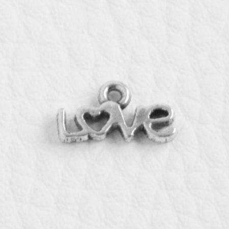 Tibeti stílusú fém medál / fityegő - antik ezüst színű 6,5x12mm-es LOVE