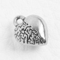 Tibeti stílusú fém medál / fityegő - antik ezüst színű 12x10mm-es szív