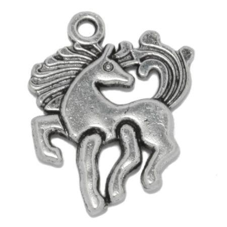 Tibeti stílusú fém medál / fityegő - antik ezüst színű 20x17mm-es unikornis / ló