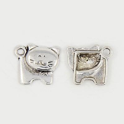 Tibeti stílusú fém medálka / fityegő - antik ezüst színű 17x15mm-es cica