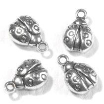 Tibeti stílusú fém medál / fityegő - antik ezüst színű 14x9mm-es katica
