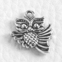 Tibeti stílusú fém medálka / fityegő - antik ezüst színű 17x15mm-es bagoly