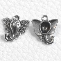 Tibeti stílusú fém medál / fityegő - antik ezüst színű 18x917x15mm-es elefántfej