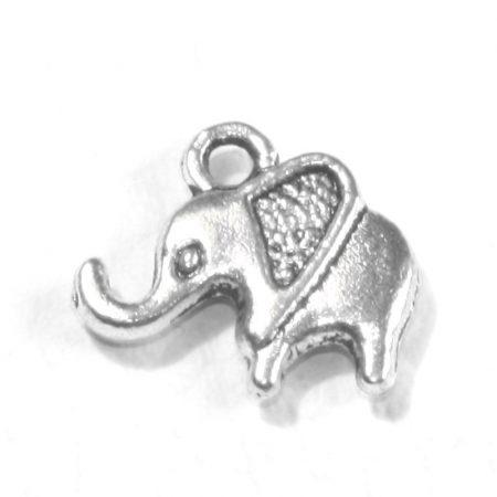 Tibeti stílusú fém medál / fityegő - antik ezüst színű 13x14mm-es elefánt