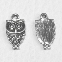 Tibeti stílusú fém medál / fityegő - antik ezüst színű 18x9mm-es bagoly
