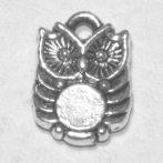 Tibeti stílusú fém medálka / fityegő - antik ezüst színű 14x10mm-es bagoly