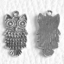 Tibeti stílusú fém medál / fityegő - antik ezüst színű 25x12mm-es bagoly