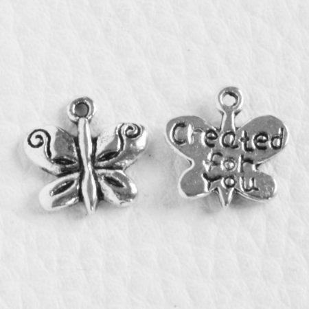Tibeti stílusú fém medál / fityegő - antik ezüst színű 13x13mm-es pillangó