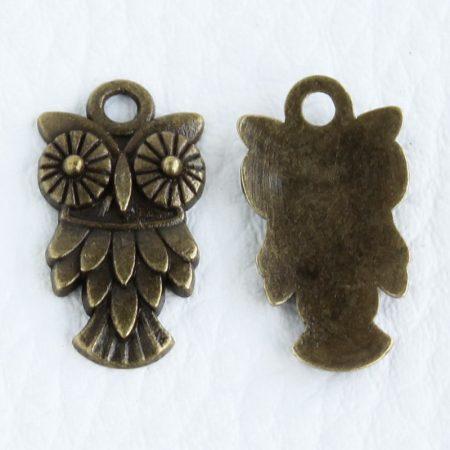 Tibeti stílusú fém medál / fityegő - antik bronz színű 20x11mm-es bagoly