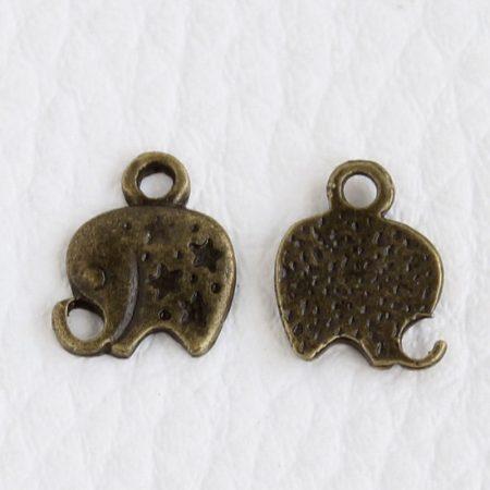 Tibeti stílusú fém medál / fityegő - antik bronz színű 11x9mm-es elefánt