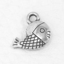 Tibeti stílusú fém medál / fityegő - antik ezüst színű 12x12,5mm-es hal