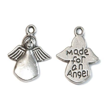 Tibeti stílusú fém medál / fityegő - antik ezüst színű 17x12,5mm-es angyal