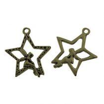 Tibeti stílusú fém medál / fityegő - antik bronz színű 30x26mm-es csillag-tündér