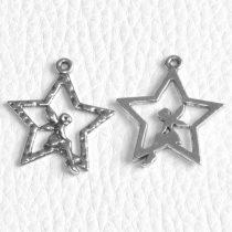 Tibeti stílusú fém medál / fityegő - antik ezüst színű 27x25mm-es csillag-tündér