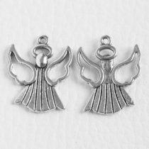 Tibeti stílusú fém medál / fityegő - antik ezüst színű 26x21mm-es angyal