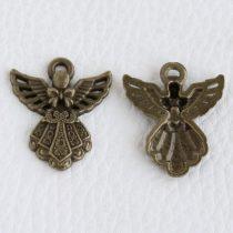 Tibeti stílusú fém medál / fityegő - antik bronz színű 27x23mm-es angyal