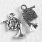 Tibeti stílusú fém medál / fityegő - antik ezüst színű 17x14mm-es kürt