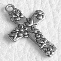 Tibeti stílusú fém medál / fityegő - antik ezüst színű 27x16,5mm-es kereszt