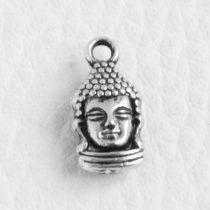 Tibeti stílusú fém medál / fityegő - antik ezüst színű 16x8mm-es Buddha fej