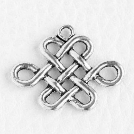 Tibeti stílusú fém medál / fityegő - antik ezüst színű 19x24mm-es végtelen csomó