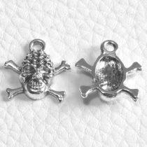 Tibeti stílusú fém medál / fityegő - antik ezüst színű 17x16mm-es koponya