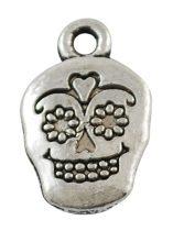 Tibeti stílusú fém medálka / fityegő - antik ezüst színű 18x12mm-es koponya