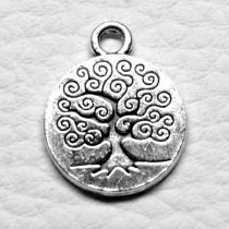 Tibeti stílusú fém medál / fityegő - antik ezüst színű 19x15mm-es érme életfa mintával