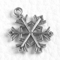 Tibeti stílusú fém medálka / fityegő - antik ezüst színű 21x16mm-es hópehely