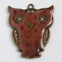 Tibeti stílusú fém medál - antik bronz színű 54x44mm-es bagoly - barna műbőr borítással