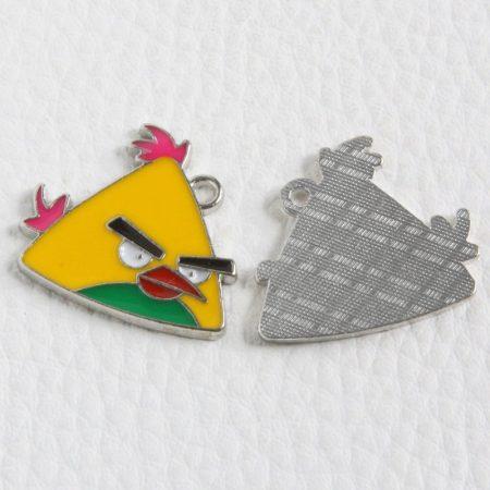 Rekeszzománc medál / fityegő - 23x26mm-es sárga  A. Bird