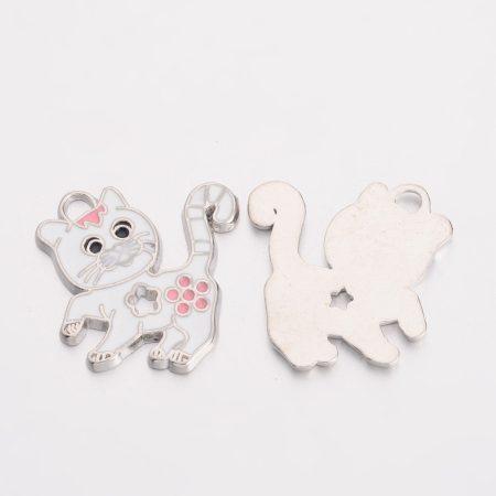 Rekeszzománc medál / fityegő - 27x26mm-es fehér cica